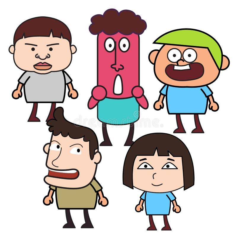 Группа в составе смешные люди шаржа бесплатная иллюстрация