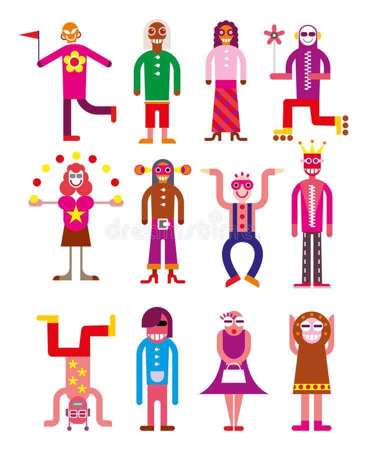 Группа в составе 12 смешных люд иллюстрация вектора