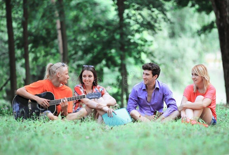 Группа в составе студенты поет песни сидя на лужайке в парке города стоковые изображения