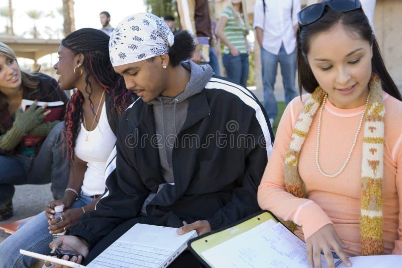 Группа в составе студент изучая на кампусе стоковое изображение