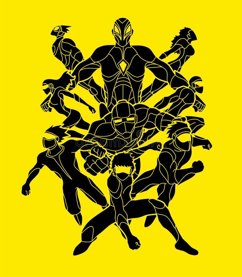 Группа в составе супергерои действие, единство совместно объединяется в команду вектор графика работы иллюстрация вектора