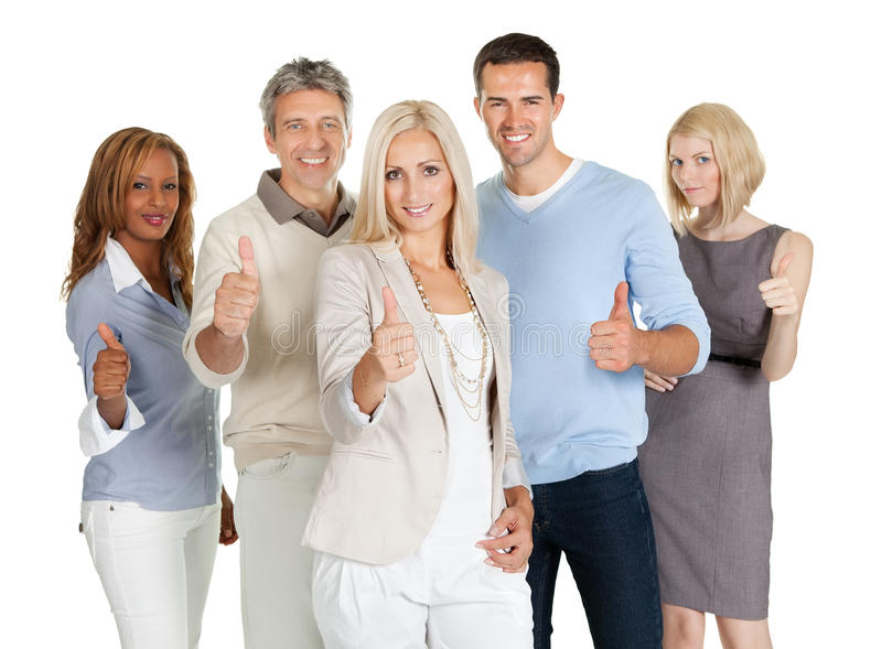 Группа в составе счастливые бизнесмены стоковое изображение