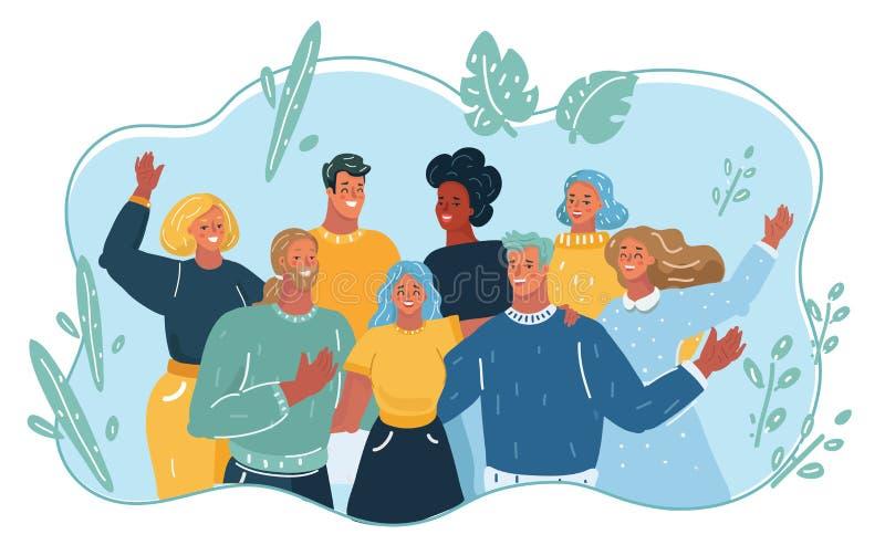 Группа в составе счастливые люди на каникулах бесплатная иллюстрация