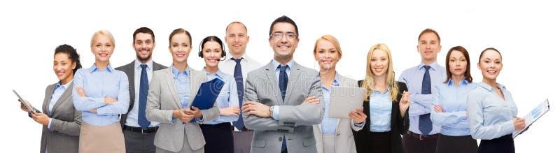 Группа в составе счастливые предприниматели стоковые изображения