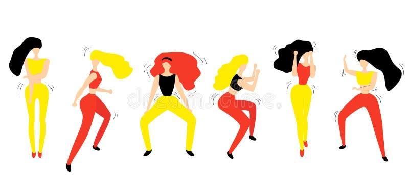 Группа в составе танцоры молодых счастливых танцев женские изолированные на белой предпосылке Девушки танцуя фитнес иллюстрация штока