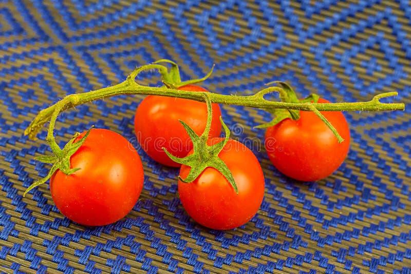 Группа в составе томаты на овощах зеленой хворостины сочных очень вкусных на предпосылке голубой сплетенной еды поверхностной осн стоковые фото