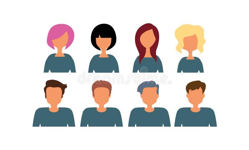 Группа в составе трудовой народ разнообразия, разнообразные бизнесмены и значки воплощения женщин Иллюстрация вектора плоского ди иллюстрация штока