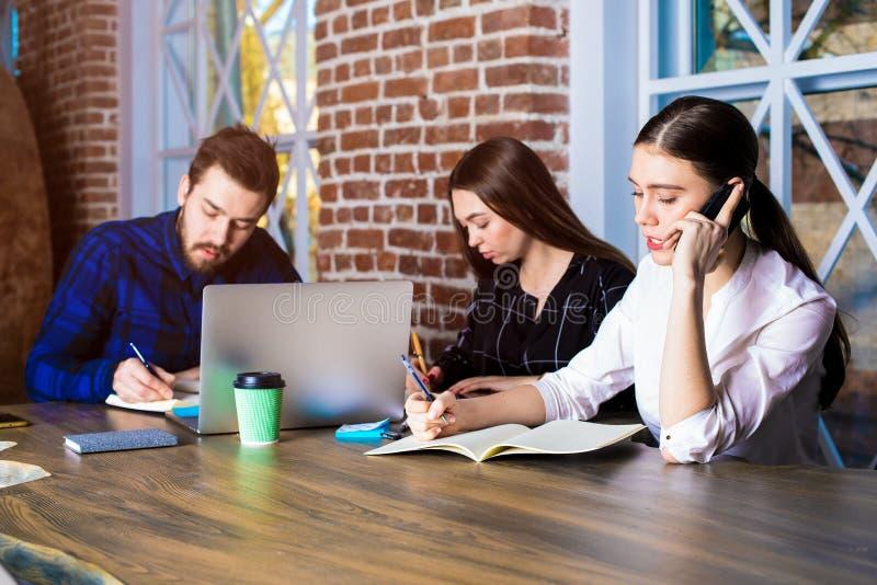 Группа в составе умелые студенты университета уча совместно в библиотеке стоковые фотографии rf