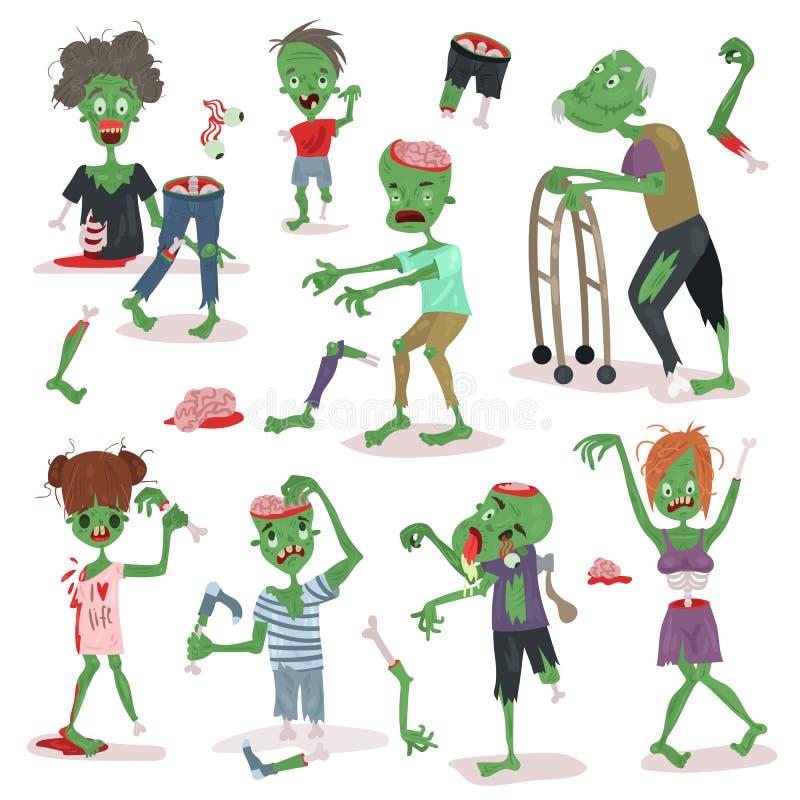 Группа в составе частей тела людей хеллоуина характера людей шаржа зомби страшная милый зеленый вектор извергов характера иллюстрация вектора