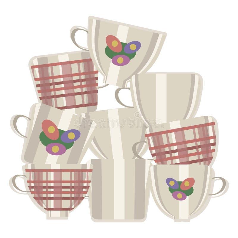 Группа в составе чашки чая света вектора керамические при клетки и цветки составила одно na górze других изолированные на белой п бесплатная иллюстрация