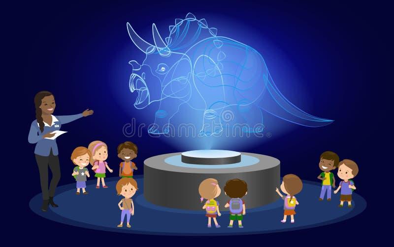 Группа в составе черных волос кожи начальной школы образования нововведения африканская коричневая hologram детей на будущем цент иллюстрация вектора
