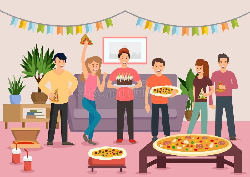 Группа в составе шаржа жизнерадостные люди есть пиццу иллюстрация вектора