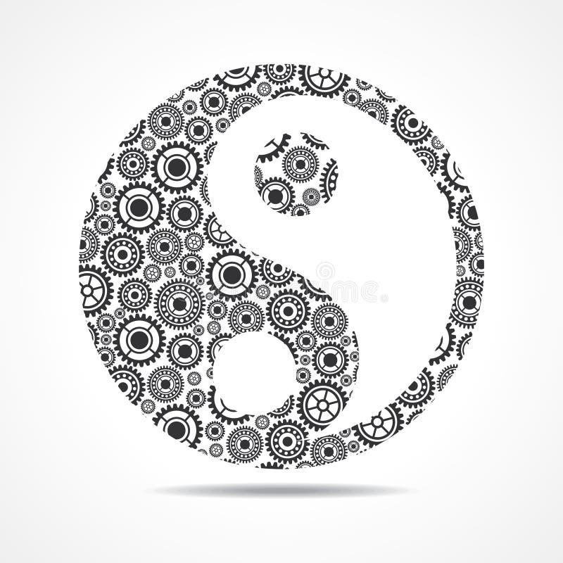 Группа в составе шестерня делает ying и символ yang иллюстрация вектора