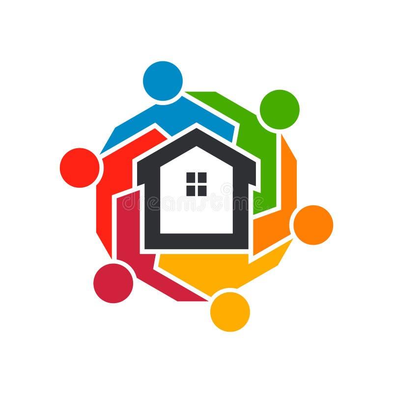 Группа в составе люди недвижимости абстрактная мозаика иллюстрации конструкции предпосылки бесплатная иллюстрация