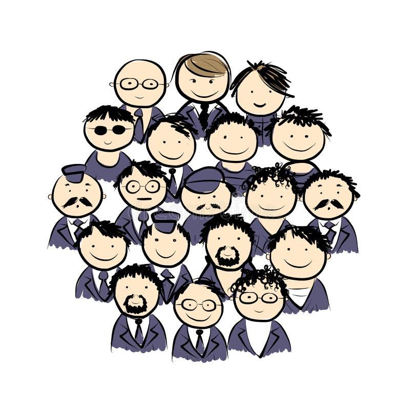 Группа в составе люди для вашего дизайна иллюстрация штока