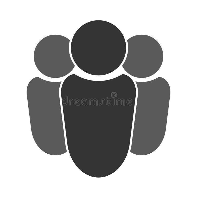 Группа в составе 3 люд с руководителем Значок, символ серо иллюстрация вектора