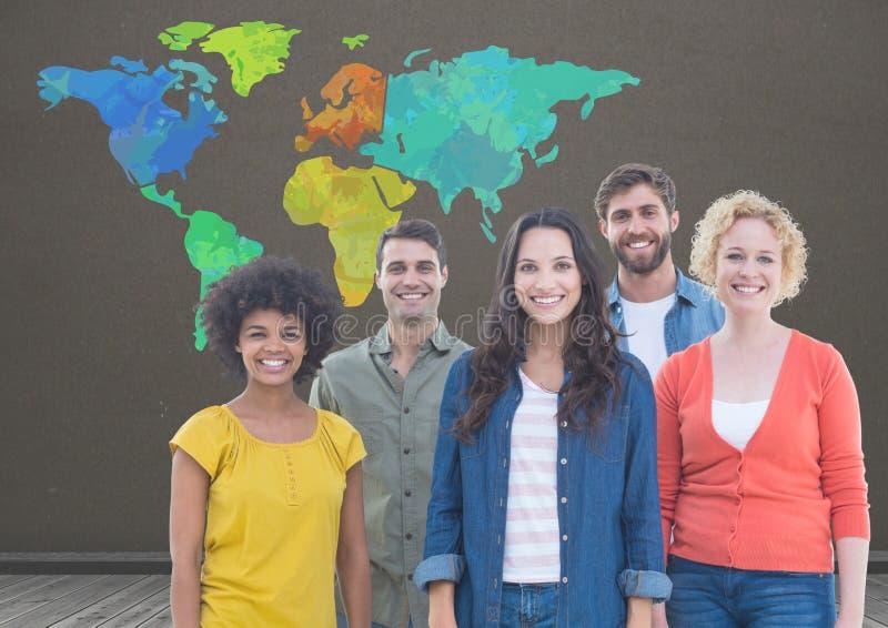 Группа в составе colouful люди под красочной картой с коричневой предпосылкой стены иллюстрация штока