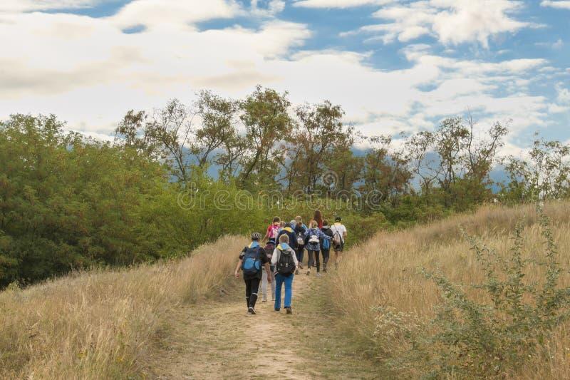 Группа в составе hikers идя в горы стоковые фотографии rf