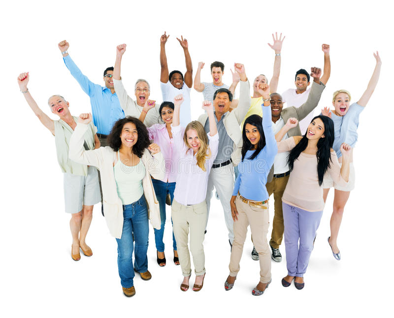 Группа в составе Multi этнические разнообразные люди празднуя стоковое изображение