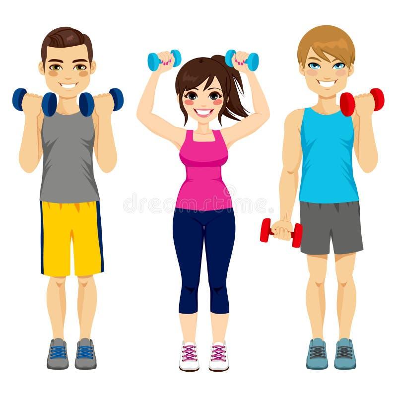 Группа гантели фитнеса бесплатная иллюстрация
