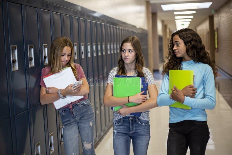 Группа девочек-подростков, идущих вместе в коридоре средней школы стоковые фотографии rf