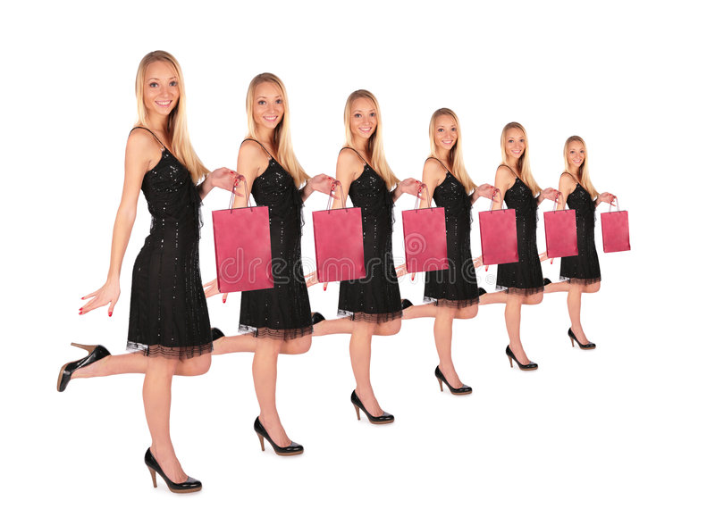 группа девушки мешка держит малой стоковое изображение rf