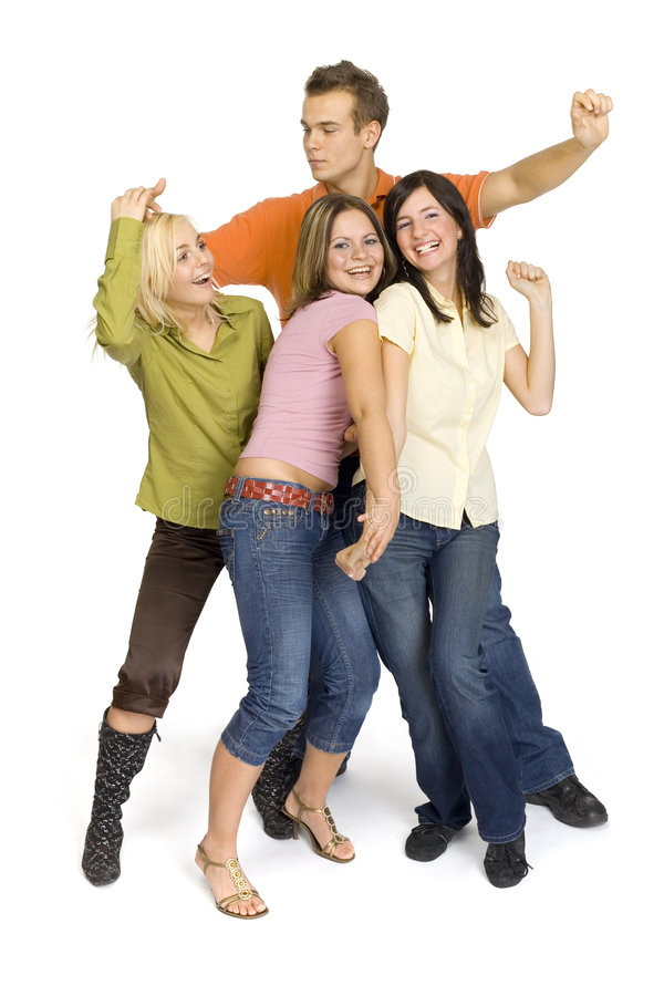 группа друзей танцы стоковое изображение