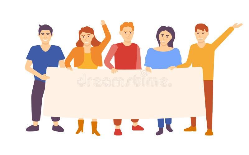 Группа людей держа пустое знамя Стоя иллюстрация вектора людей и женщин бесплатная иллюстрация