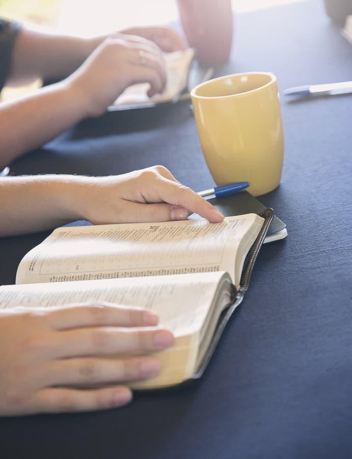 Группа людей изучая библию снаружи стоковые изображения rf