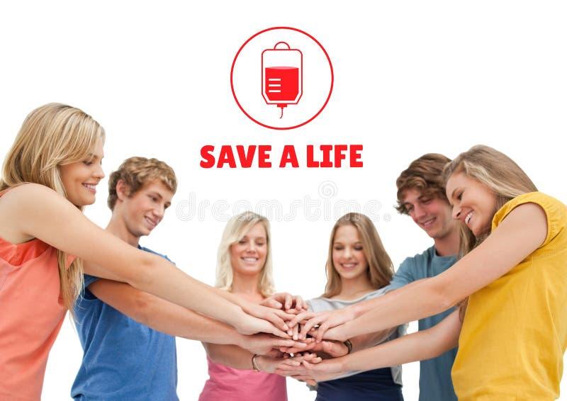 Группа людей и концепция донорства крови стоковое изображение rf