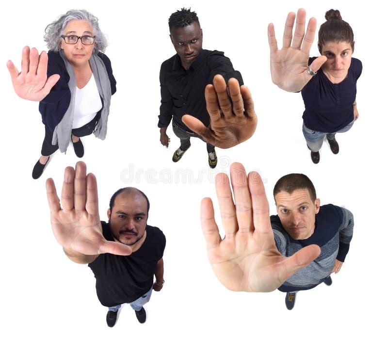 Группа людей со стоп-знаком стоковая фотография