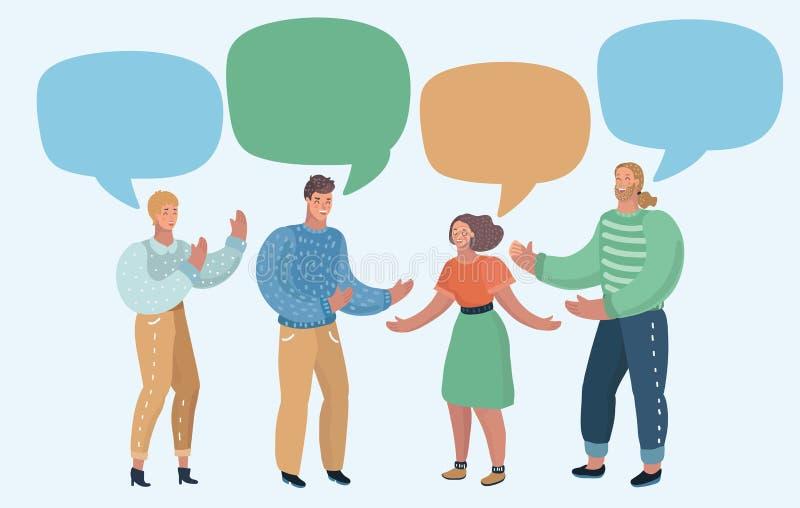 Группа людей с пустыми пузырями речи иллюстрация вектора