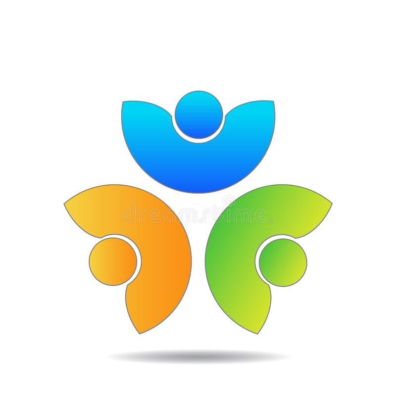 Группа людей трио сыгранности, логотип вектора дела иллюстрация вектора