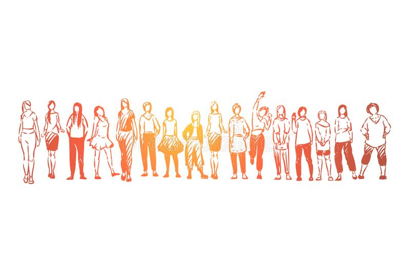 Группа молодых дам стоя совместно, безликие девушки в случайных одеждах, женской общине, единстве иллюстрация вектора