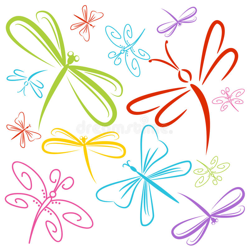 Группа насекомого Dragonfly иллюстрация штока