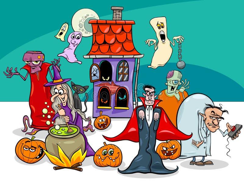 Группа персонажей из мультфильма праздника хеллоуина бесплатная иллюстрация