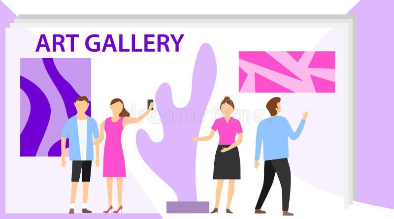 Группа посетителя выставки музея художественной галереи Посетители выставки осматривая современные абстрактные картины на совреме иллюстрация штока