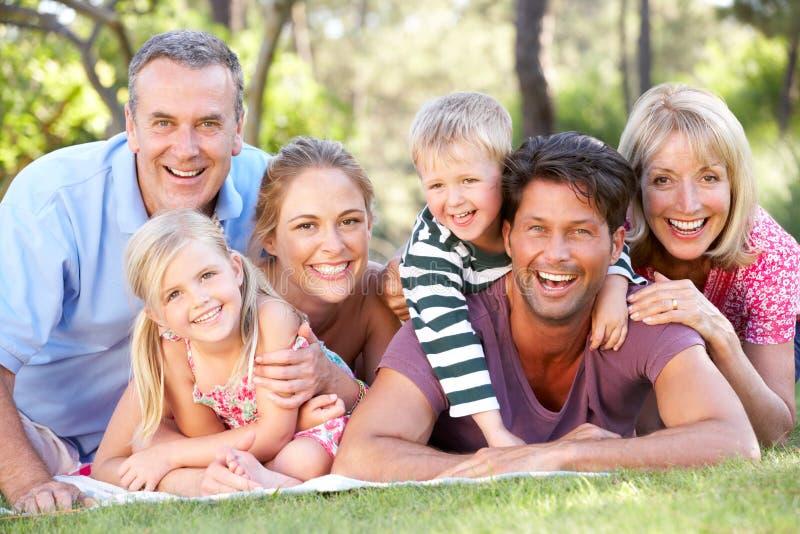 Группа семьи из нескольких поколений ослабляя в парке совместно стоковое фото