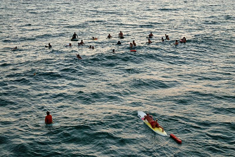 Группа серферы полощет вне на пристани Венеции для того чтобы удостоить упаденного друга стоковые фотографии rf
