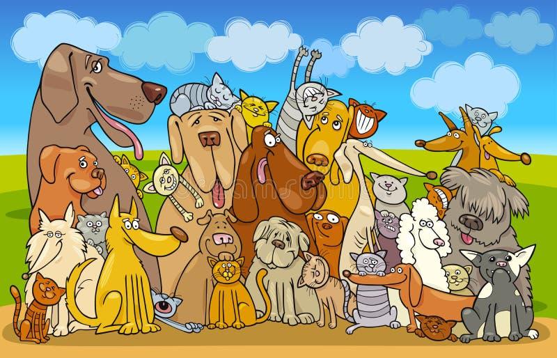 группа собак котов бесплатная иллюстрация