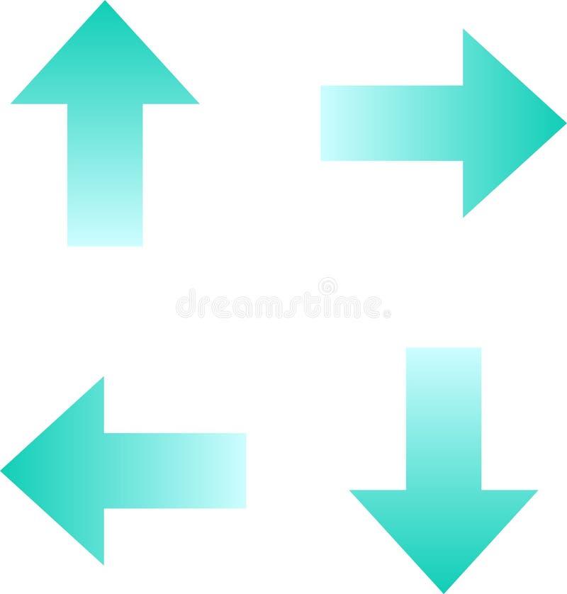 Группа стрелок в 4 направлениях иллюстрация вектора