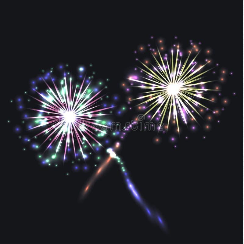 Группа фейерверков вектора красочная, праздничные сияющие элементы на темной предпосылке бесплатная иллюстрация