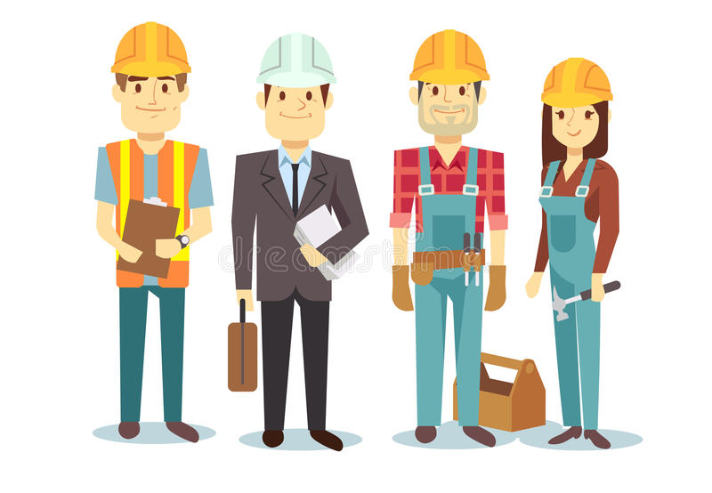 Группа характеров построителя вектора команды рабочий-строителей иллюстрация вектора
