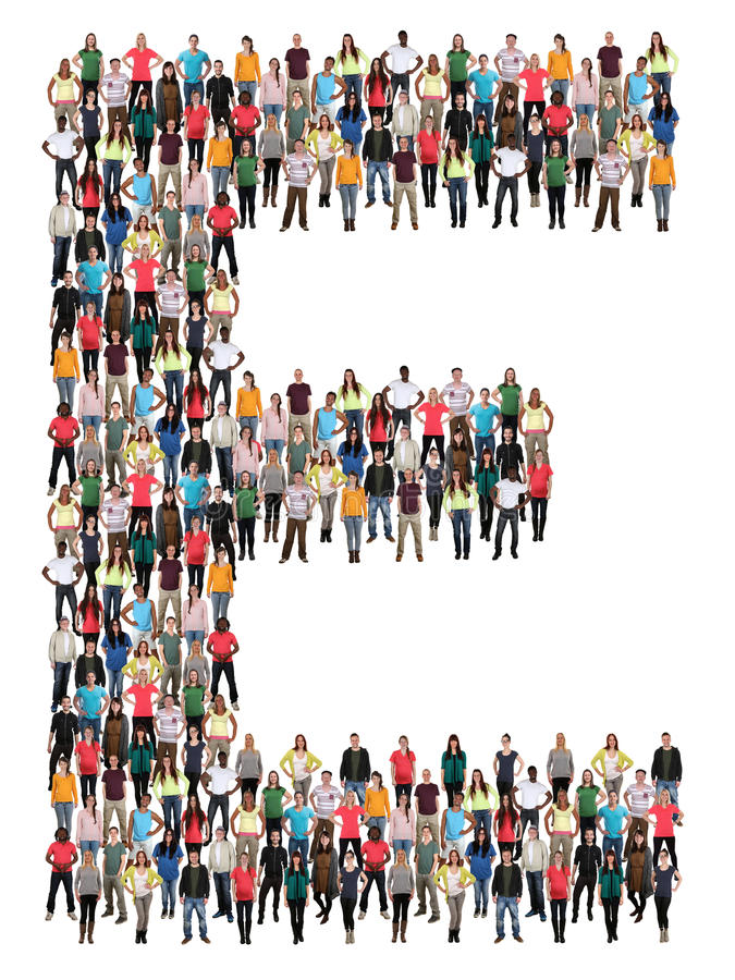 Группа людей алфавита письма e стоковое фото rf