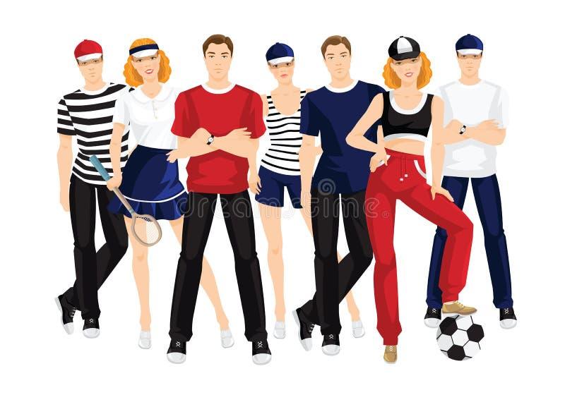 Группа людей в одеждах для спорта или фитнеса бесплатная иллюстрация