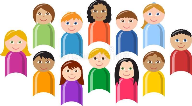 группа eps детей разнообразная иллюстрация вектора