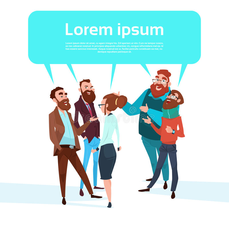 Группы болтовни бизнесмены предпринимателей пузыря говоря обсуждающ сообщение бесплатная иллюстрация