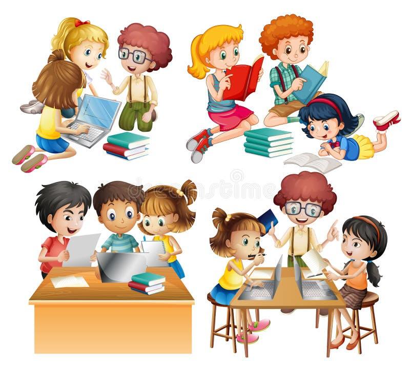 Группы в составе студенты читая и работая на компьютере бесплатная иллюстрация