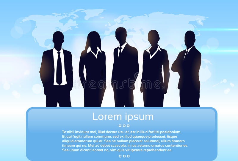 Группы силуэта бизнесмены команды исполнительных властей иллюстрация вектора