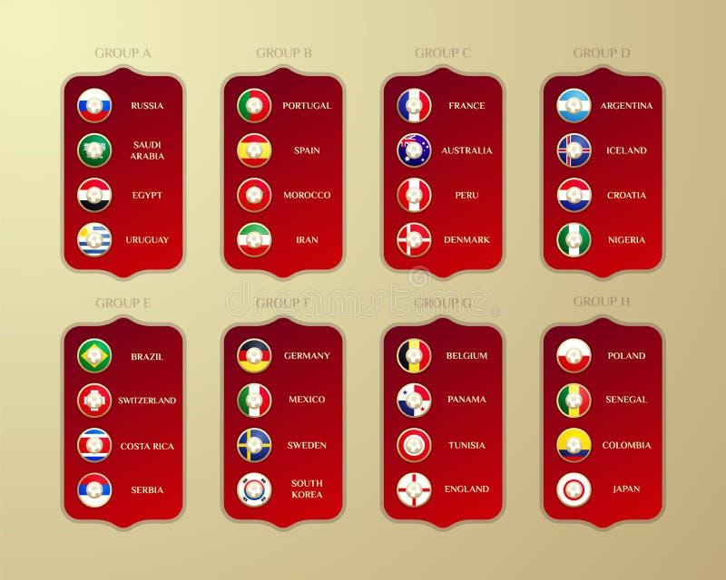 Группы чемпионата футбола в России Флаги страны 201 вектора иллюстрация вектора